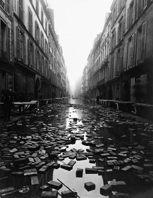 "Via Book Mania!: ""Books float on the street after a library on Rue Jacob, Paris is flooded during the Great 1910 Parisian Flood"""