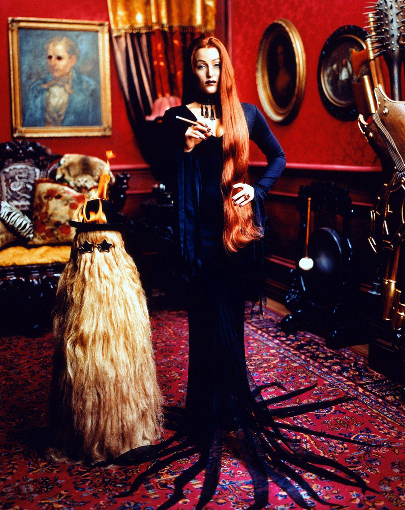 Gillian Anderson as Morticia Addams, photographed by Mark Seliger.