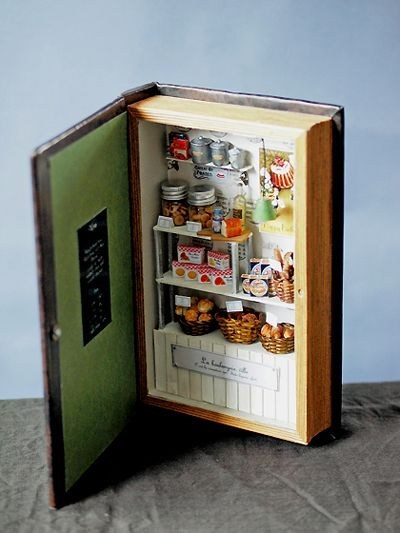 Miniature bakery in a book