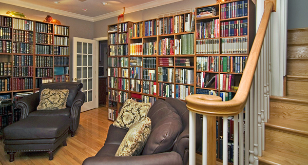 A library that was originally a seldom-used dining room.